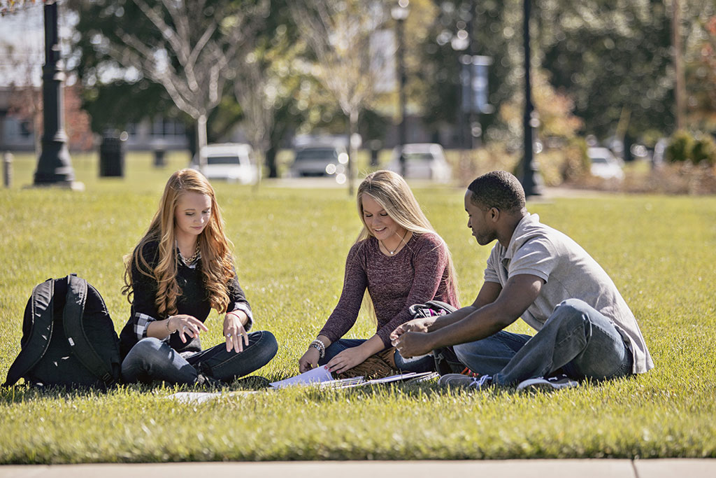 Students sitting outside in the grass on a summer day.