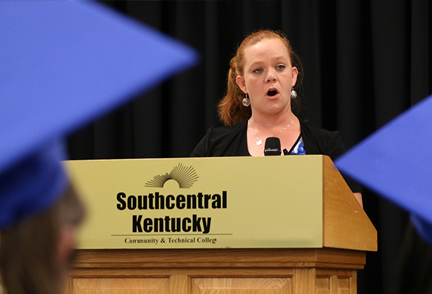 Heather Wyatt speaks to graduates