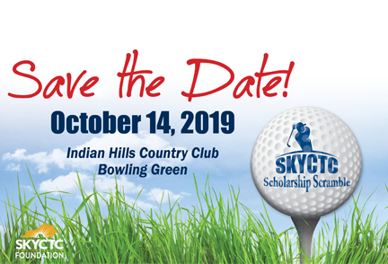 Scholarship Scramble image with words save the date and picture of golfer swinging club next to golf ball
