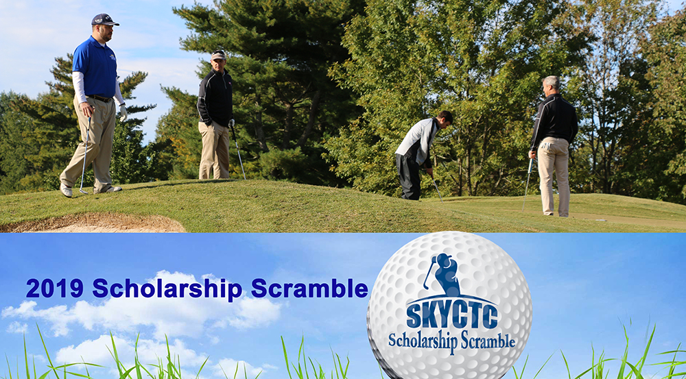 Photo of golfers on course with words eighth annual scholarship scramble