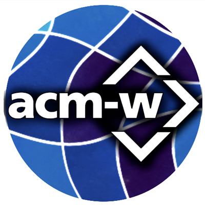 A round geometrical globe with the letters a-c-m-w on it