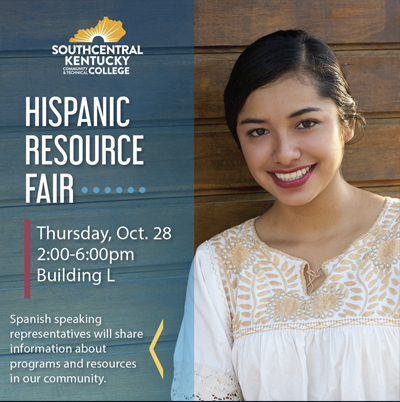 Image announcement of Hispanic Resource Fair with Lation female