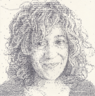 portrait of Rosie Moosnick, a sociologist and author who has written about Arab and Jewish identity in Kentucky, for the publication, made with a typewriter.