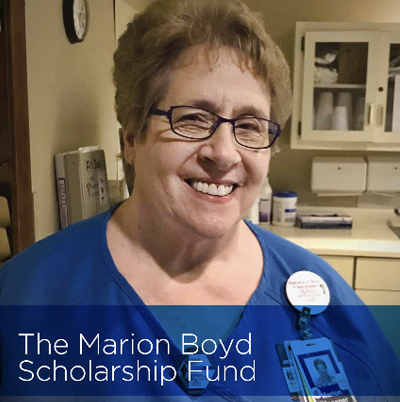 Photo of Marion Boyd with words Marion Boyd Scholarship Fund.