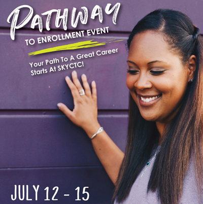 Girl standing in front of a purple background with words Pathway to Enrollment Event your path to a great career June 12-15