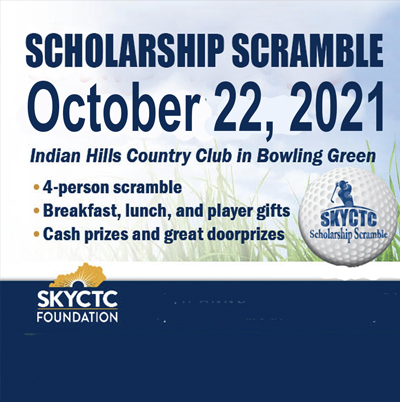 Promotional image of the scholarship scramble with logo and words scholarship scramble October 22. 2021 at Cross Winds Country Club