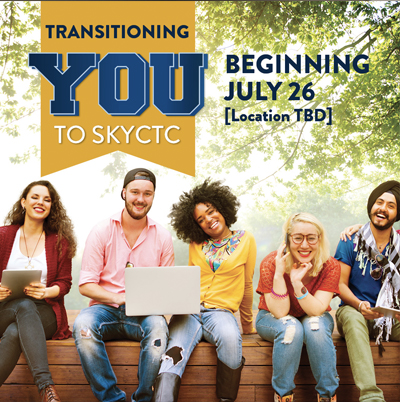 College students setting on a bench with words Transitioning you to SKYCTC