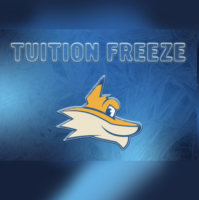 Artist rendering of KCTCS mascot Pathfinder on blue background with words tuitio freeze