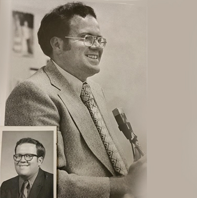 Two photos of Jim Turner when he began teaching in 968
