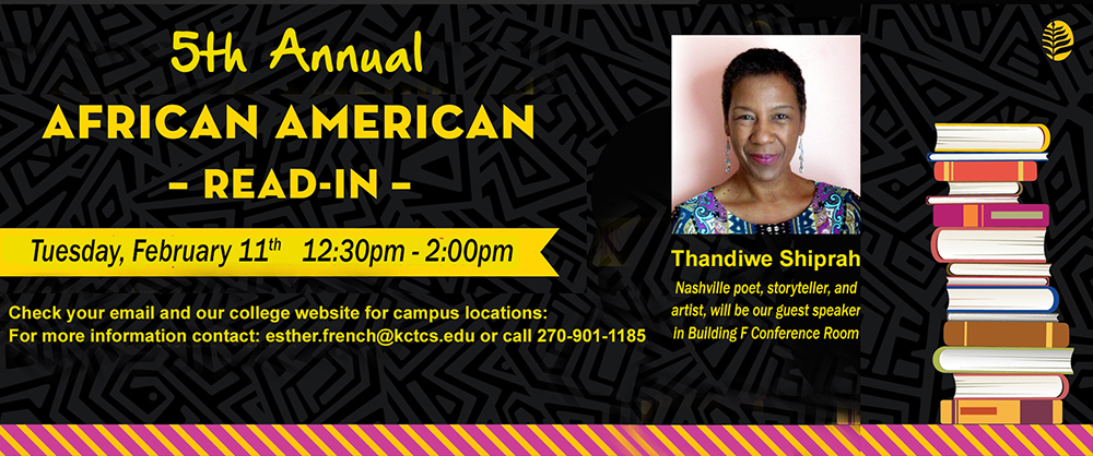 5th annual african americanread-in banner with photo of guest speaker
