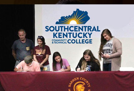 Barren County High School graduates signing scholarshp for SKYCTC