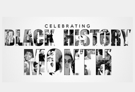 The words Black History Month with images of famous African-Americans in the text