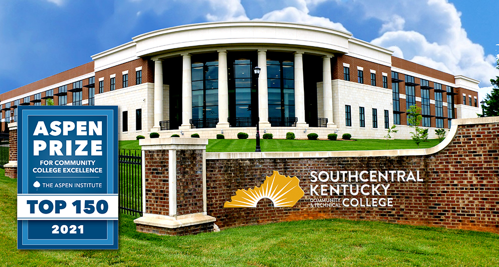 Photo of Academic Complex with Southcentral Kentucky Community and Tecnnical College logo and Aspen Institute logo