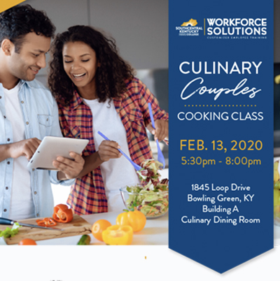 A couple cooking with the words culinary couples cooking class
