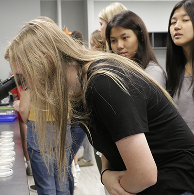 Female high school student looking in a microscope with other female student watching
