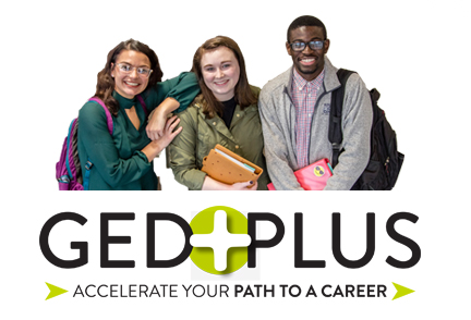 GED Plus logo with three students