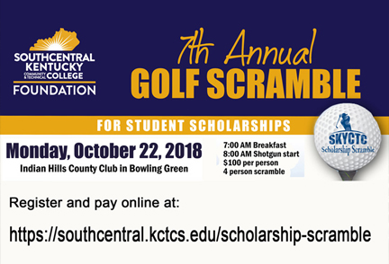 Golf Scramble logo with information of the event