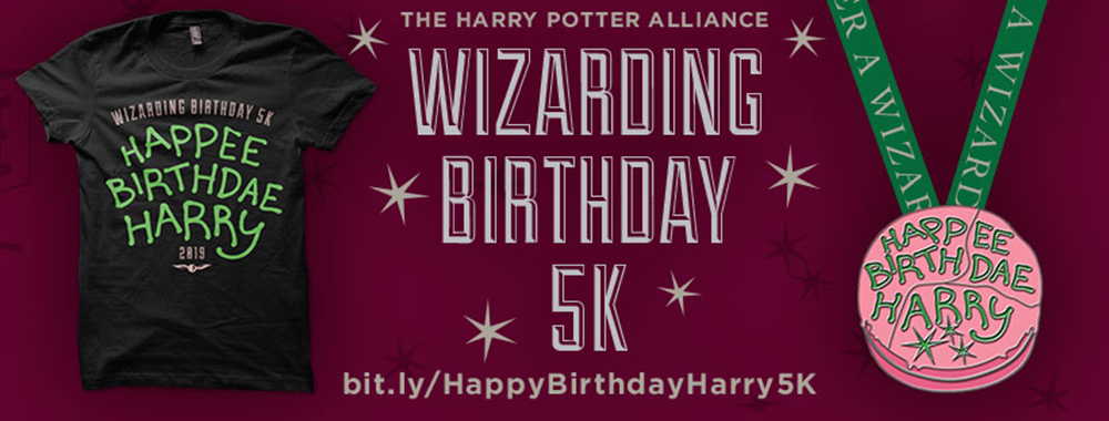 Harry Potter Birthday 5K banner with picure of Happee Birthday Harry shirt and medal