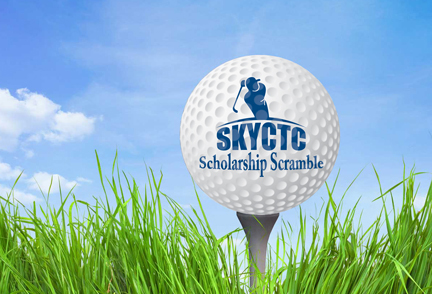 Picture of golf ball on tee with words scholarship Scramble