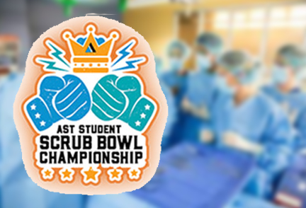 ACS Scrubb Bowl logo with photo of surgery behind it out of focus