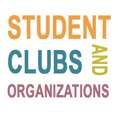 The words student clubs and organizations on white background